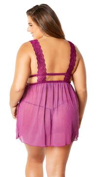 Plus Size Nora Lace Empire Babydoll Set - Amaranth