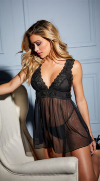 Nora Lace Empire Babydoll Set - Black