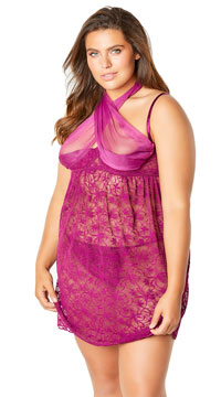 Plus Size Abelina Lace Empire Waist Babydoll Set - Amaranth