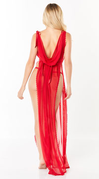 Chantal Draping Gown Set - Red