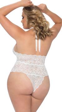 Plus Size Lace Halter Teddy - White