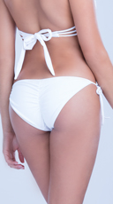 Ruched Back Bikini Bottom - White
