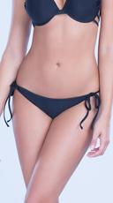 Ruched Back Bikini Bottom - Black