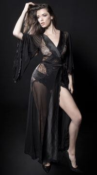 Nicolette Satin and Lace Robe - Black