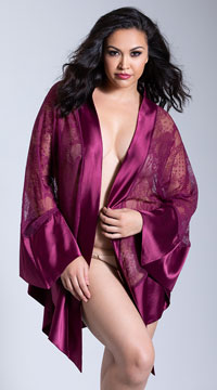 Plus Size Roxanne Satin and Lace Robe - Amaranth
