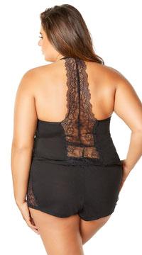 Plus Size Joyelle Lace Jesery Lounge Shorts - Black