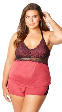 Plus Size Joyelle Lace Jesery Lounge Shorts - Berry/Black
