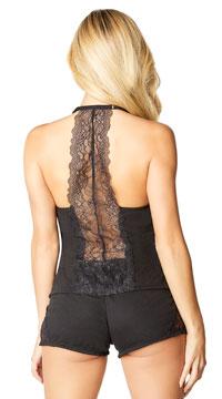 Joyelle Lace Jesery Lounge Shorts - Black