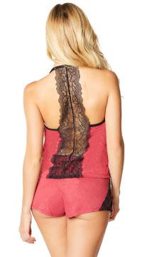 Joyelle Lace Jesery Lounge Shorts - Berry/Black
