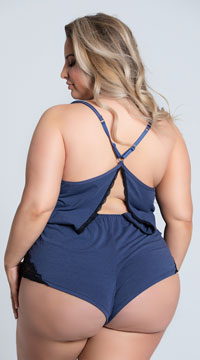Plus Size Madalene Cozy Cutie Romper - Blue/Black
