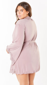 Plus Size Reina Butterfly Sleeve Lace Robe - Mauve