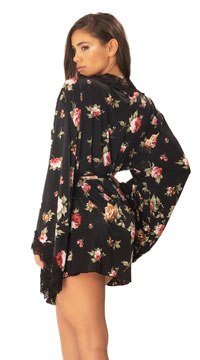 Reina Butterfly Sleeve Lace Robe - Black Rose