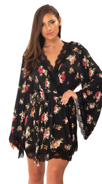 Reina Butterfly Sleeve Lace Robe - as shown