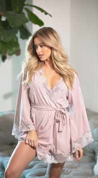 Reina Butterfly Sleeve Lace Robe - Mauve