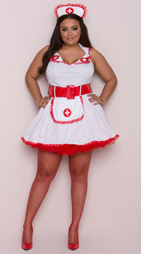 Plus Size Temptress Nurse Betty Costume - Red/White