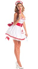 Temptress Nurse Betty Costume - Red/White