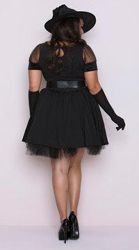 Plus Size Bewitching Pin-Up Witch Costume - Black