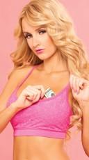 Pink Lace Sports Bra - Pink