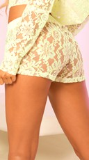 Sheer Lace Hot Shorts with Bow - Green
