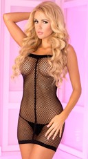 String Back Fishnet Mini Dress - Black