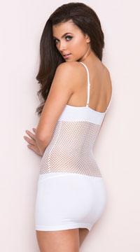 Fishnet Torso Seamless Mini Dress - White