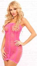 Pink Shredded Tube Dress - Pink