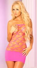 Pink Web Paneled Sheer Tube Dress - Pink