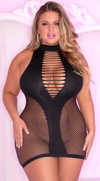 Plus Size Inter-Net Hi Neck Dress - Black