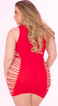 Plus Size Rule Breaker Open Side Dress - Red