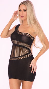 Dare You One Shoulder Dress - Black