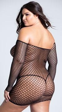 Plus Size Bad Intentions Fishnet Dress - Black