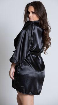 Plus Size Midnight Satin Robe - Black