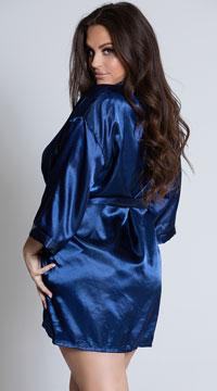 Plus Size Midnight Satin Robe - Navy