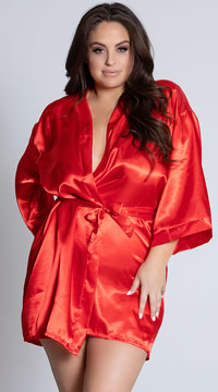 Plus Size Midnight Satin Robe - Red