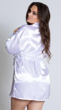 Plus Size Midnight Satin Robe - White