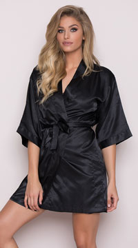 Plus Size Midnight Satin Robe - Black