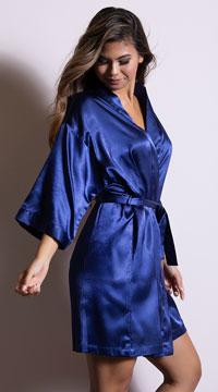 Midnight Satin Robe - Navy