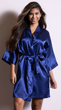 Plus Size Midnight Satin Robe - Navy