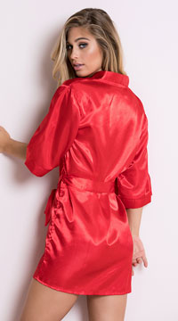 Plus Size Midnight Satin Robe - Red