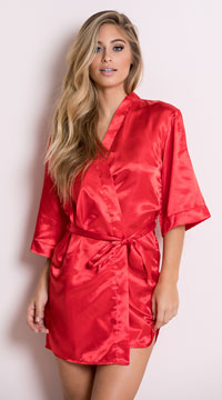 Plus Size Midnight Satin Robe - Pink