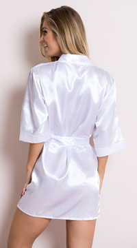 Plus Size Midnight Satin Robe - White