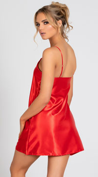 Midnight Satin Chemise - Red