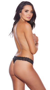 Show Your Luster Lace Thong - Black
