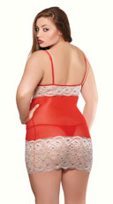 Plus Size Steamy Evening Chemise Set - Red