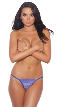 Plus Size Your Turn Crotchless G-String - Blue