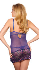 Blossoming Purple and Pink Chemise Set - Purple
