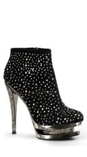Rhinestone Embellished Stiletto Heel - Black Suede/Pewter Chrome