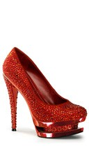 6 Inch Stiletto Heel, 1 1/2 Inch Dual Pf Pump - Red Suede/Red Chrome