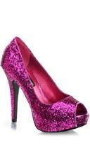 Glitter Peep Toe Pumps - Fuchsia Glitter