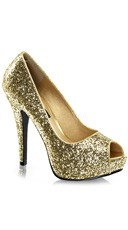 Glitter Peep Toe Pumps - Gold Glitter